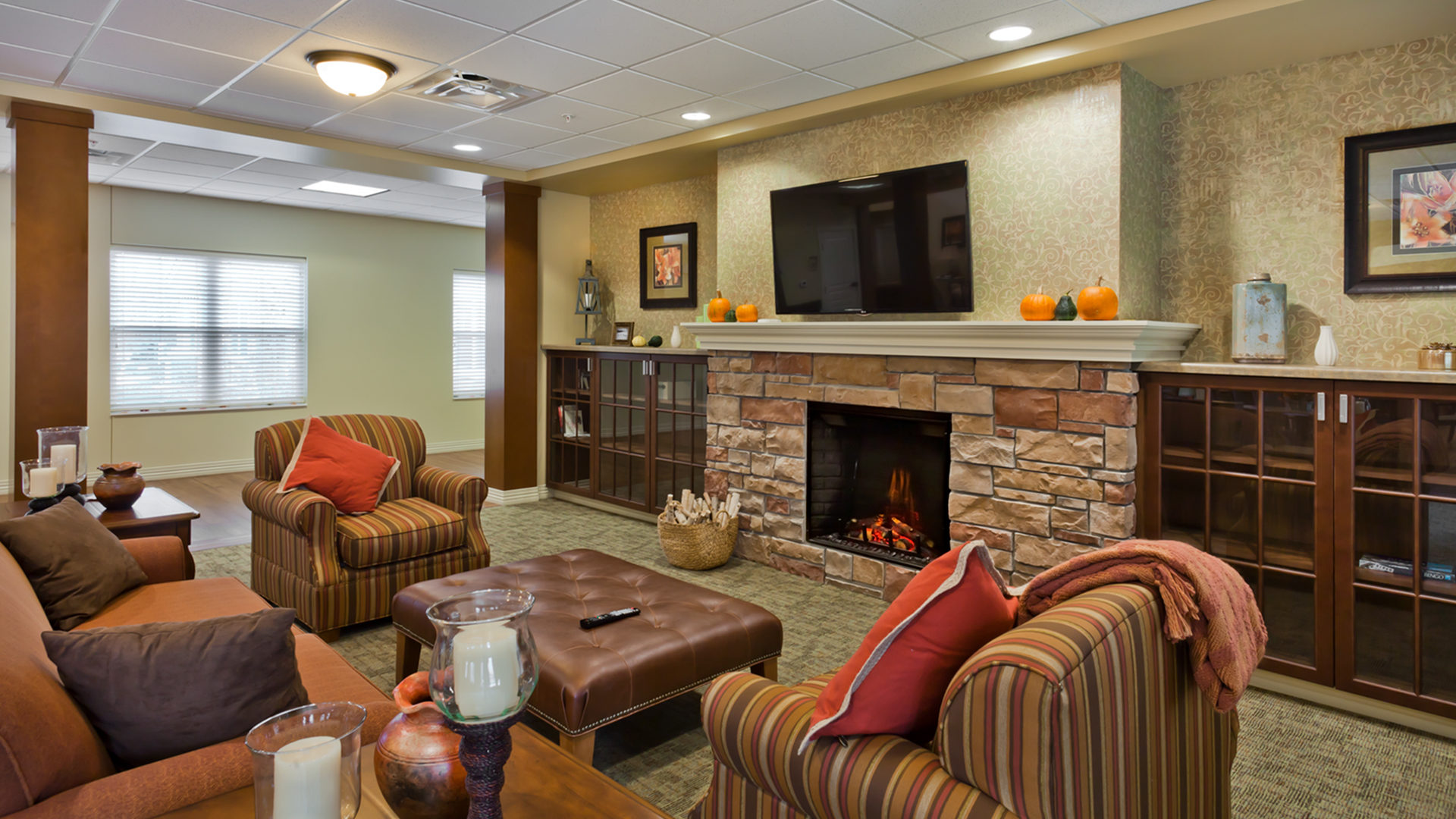 Good Samaritan Society International Falls Community Room with Television and Fireplace