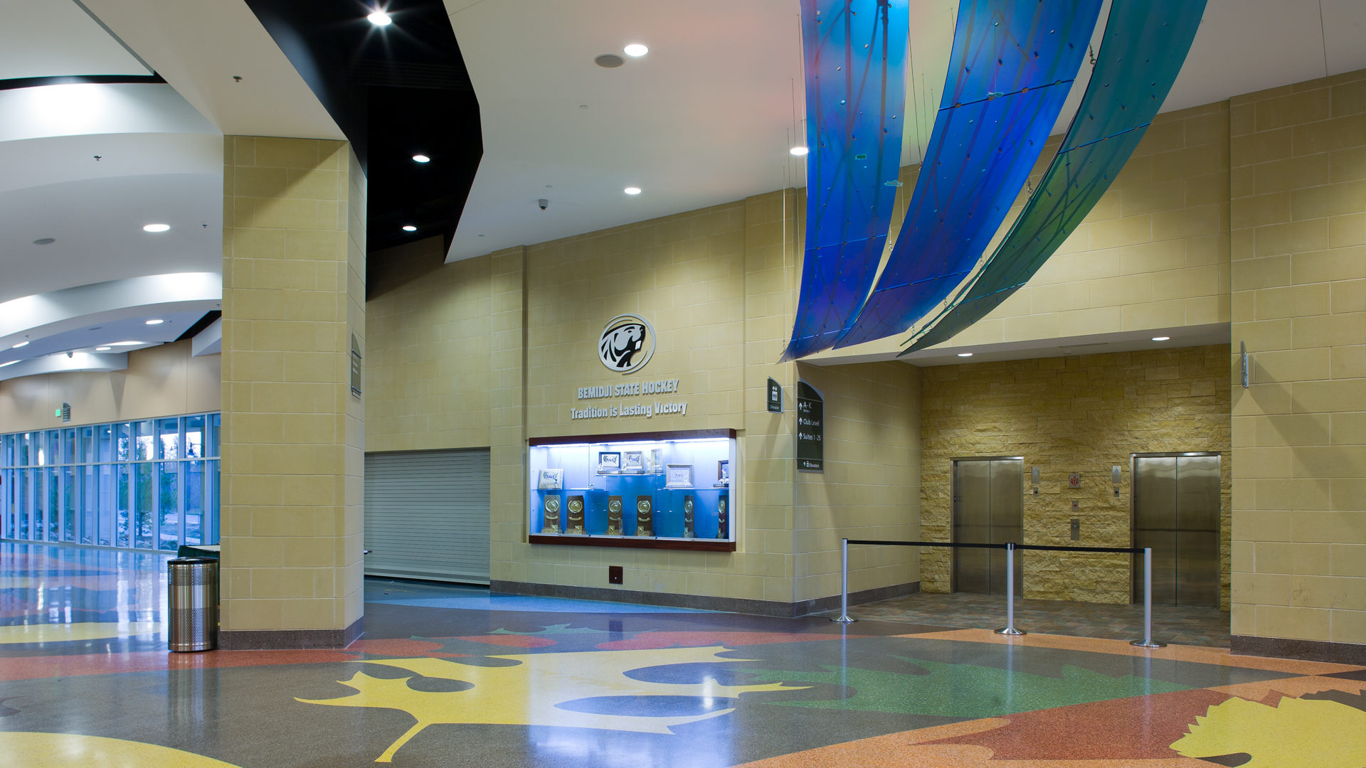 Sanford Center Ice Arena Bemidji MN Government Interior Cooridor of Entrance Hanging Wave Panels from Ceiling