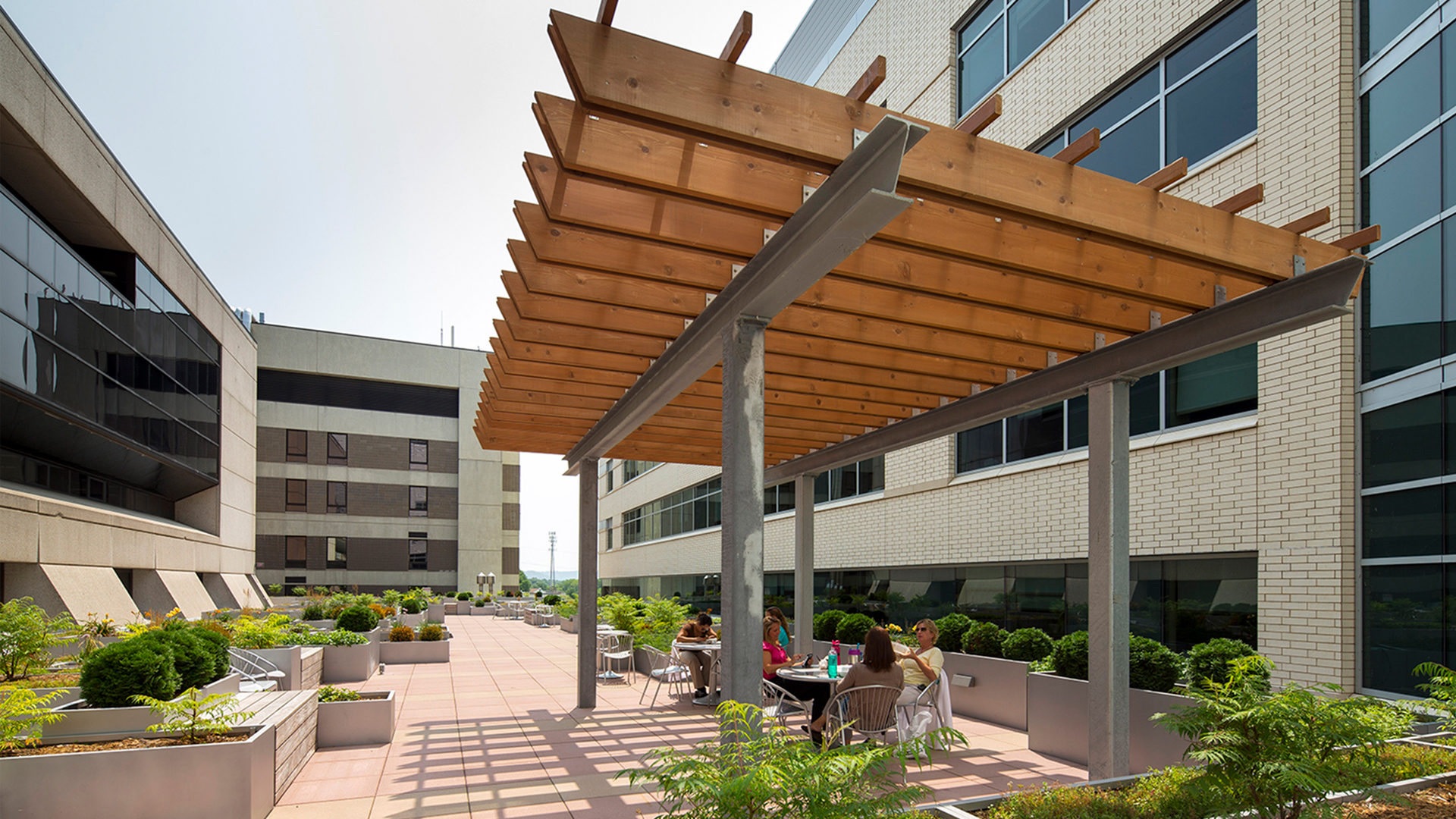 Gundersen Healthcare System Hospital Exterior Patio Seating Green Space