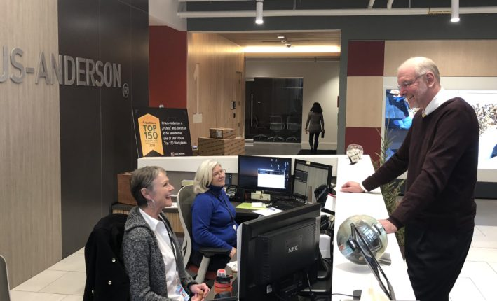 Therese Delie and Kathy James at the KA Twin Cities front desk