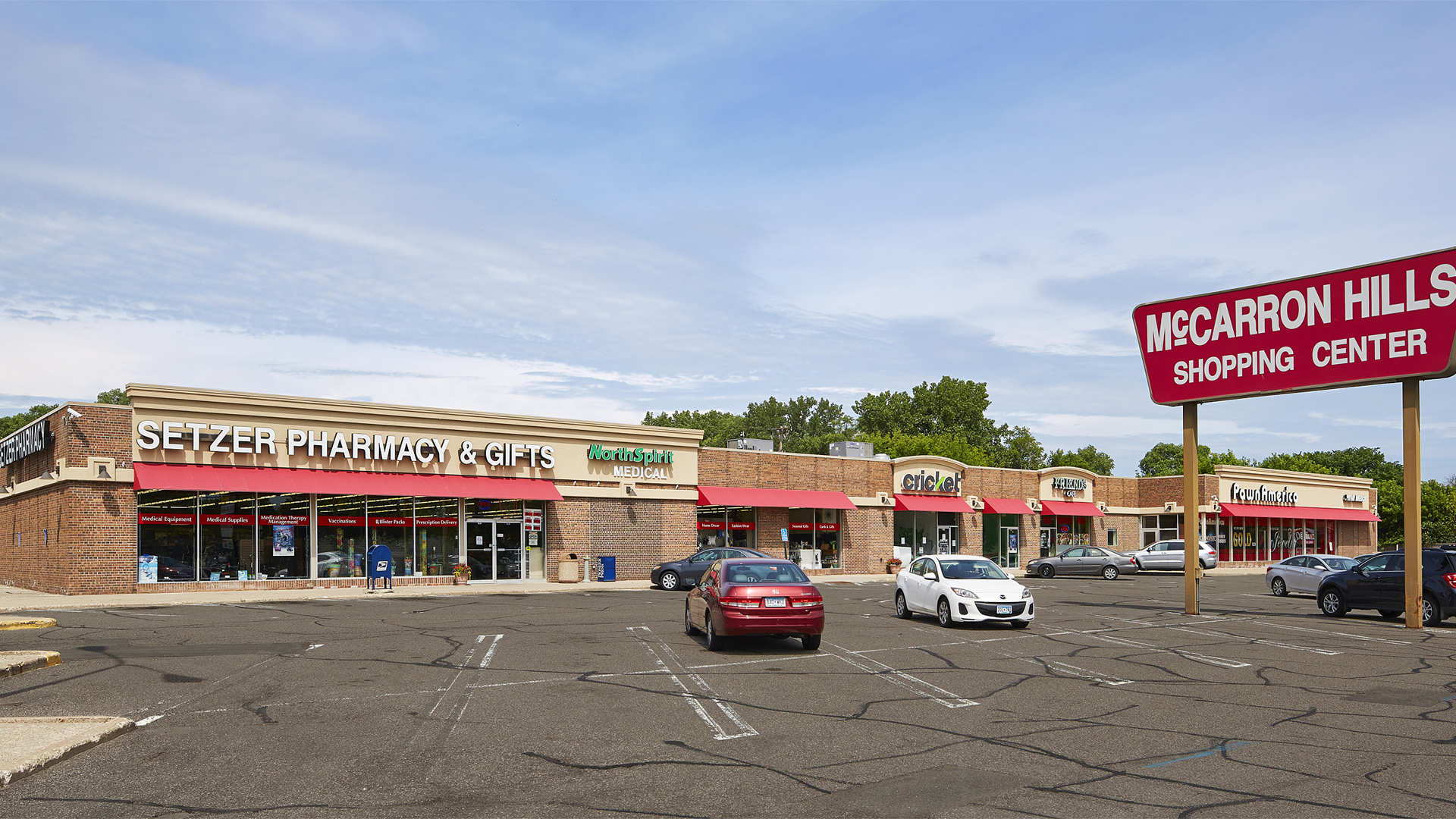 McCarron Hills Retail Shopping Center Roseville MN exterior view with marquee