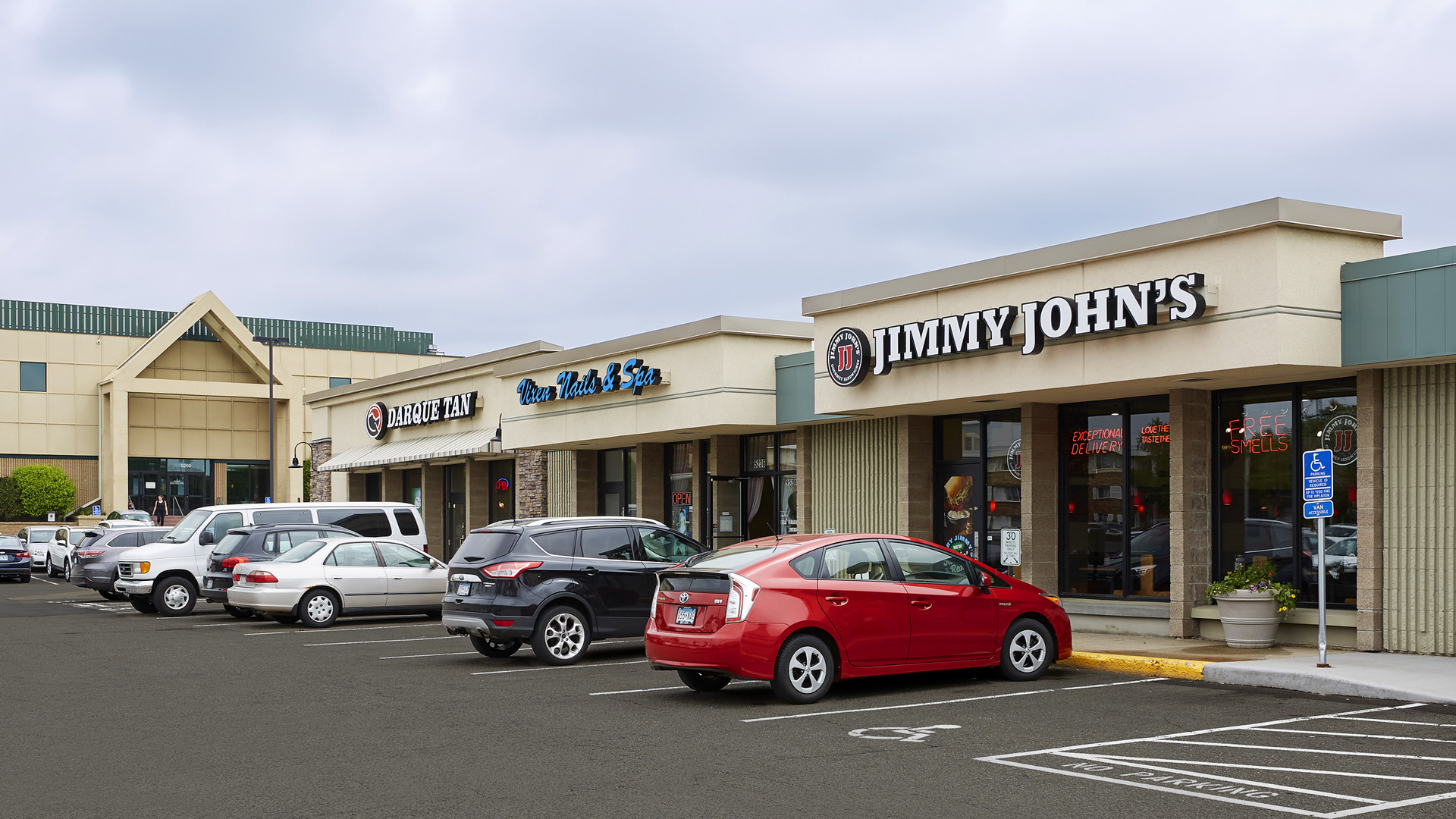 Normandale Retail Shopping Center Bloomington MN exterior view featuring Jimmy Johns