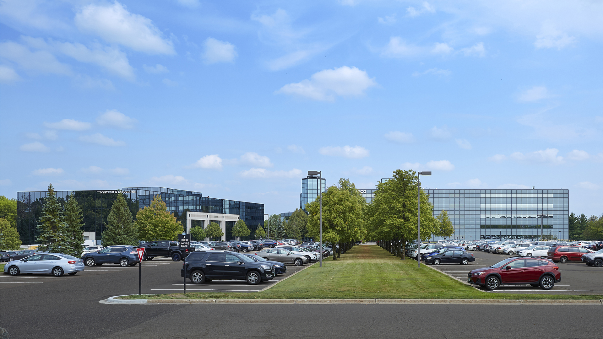 Prairie Lakes Corporate Center I and II office building exterior campus view