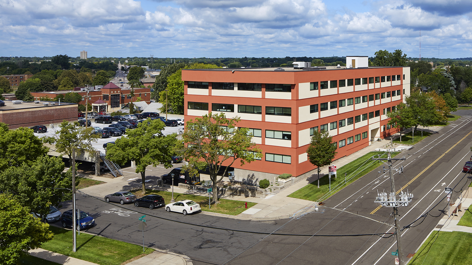 555 Park Office Building St Paul MN Exterior Aerial ViewShowing Building Front and Back Parking Ramp