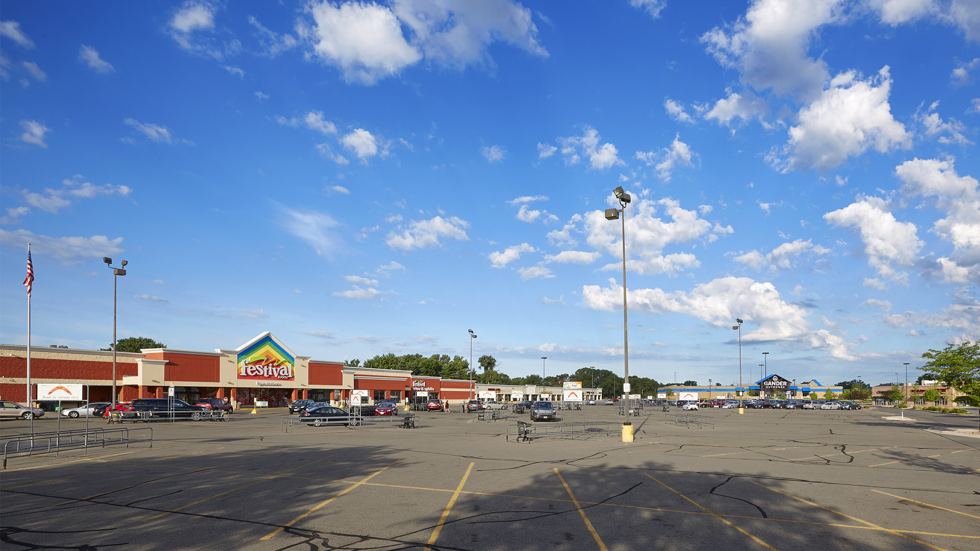 Crossing Meadows Retail Shopping Center Onalaska WI exterior wide angle view of shopping center