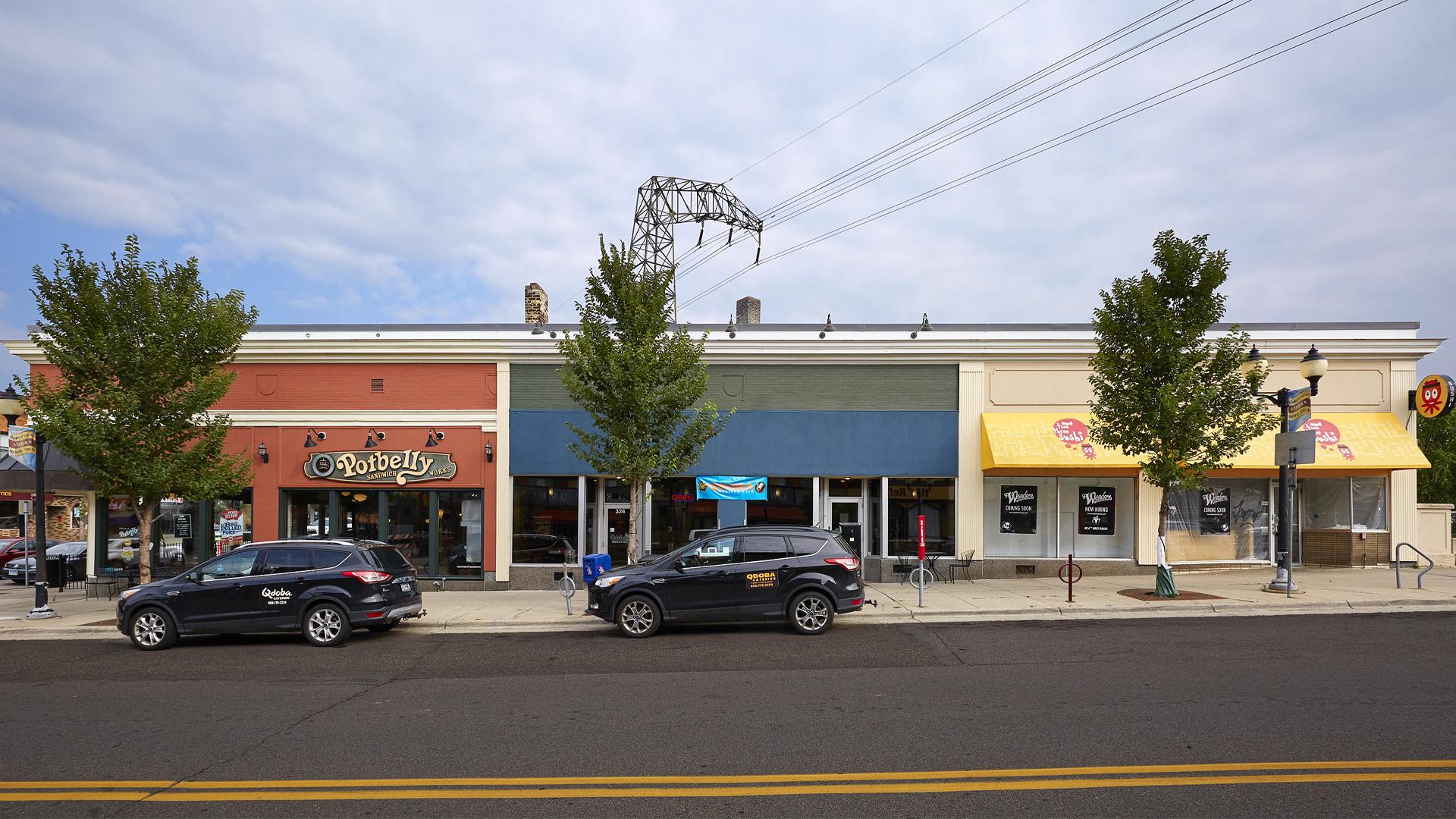 Dinkytown Retail Shopping Center Minneapolis exterior front elevation
