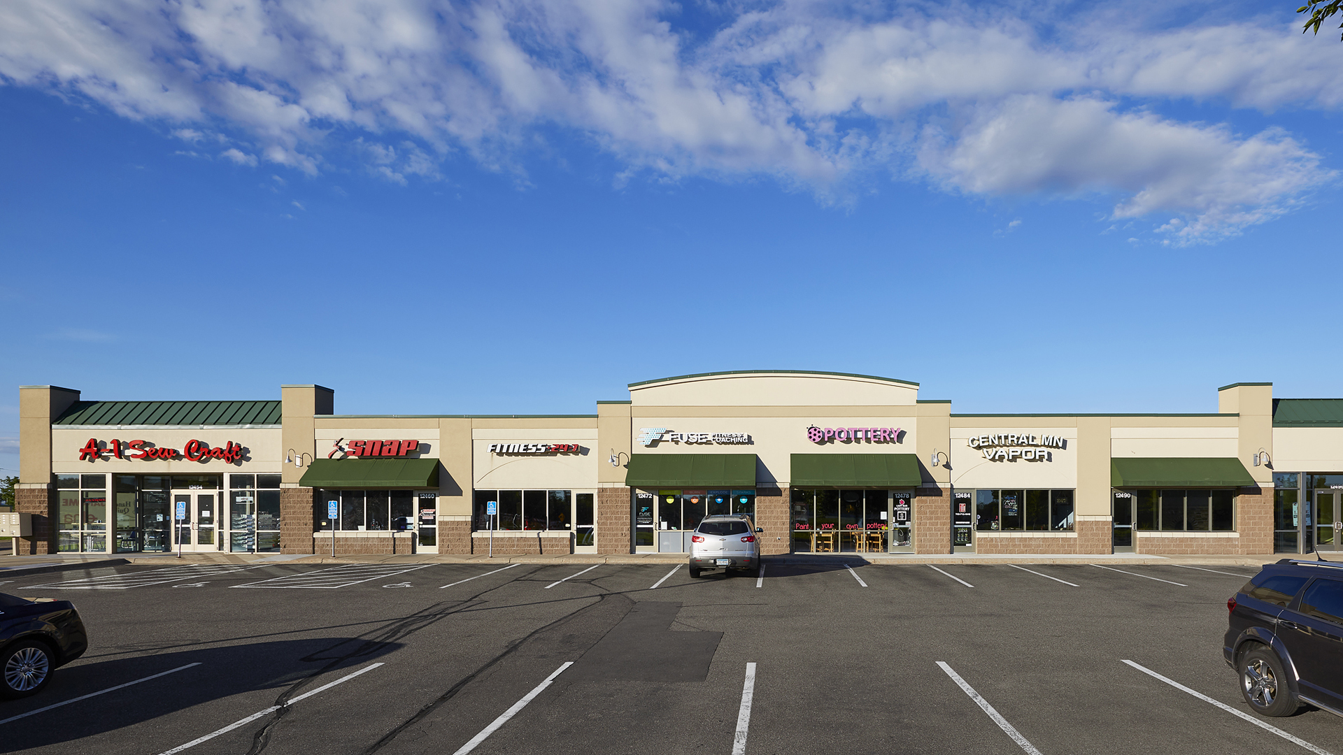 Hayden Lake Square Champlin MN retail shopping center exterior front elevation
