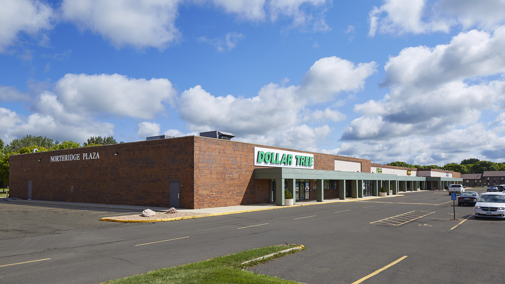Northridge Plaza Retail Shopping Center Waseca MN exterior featuring Dollar Tree
