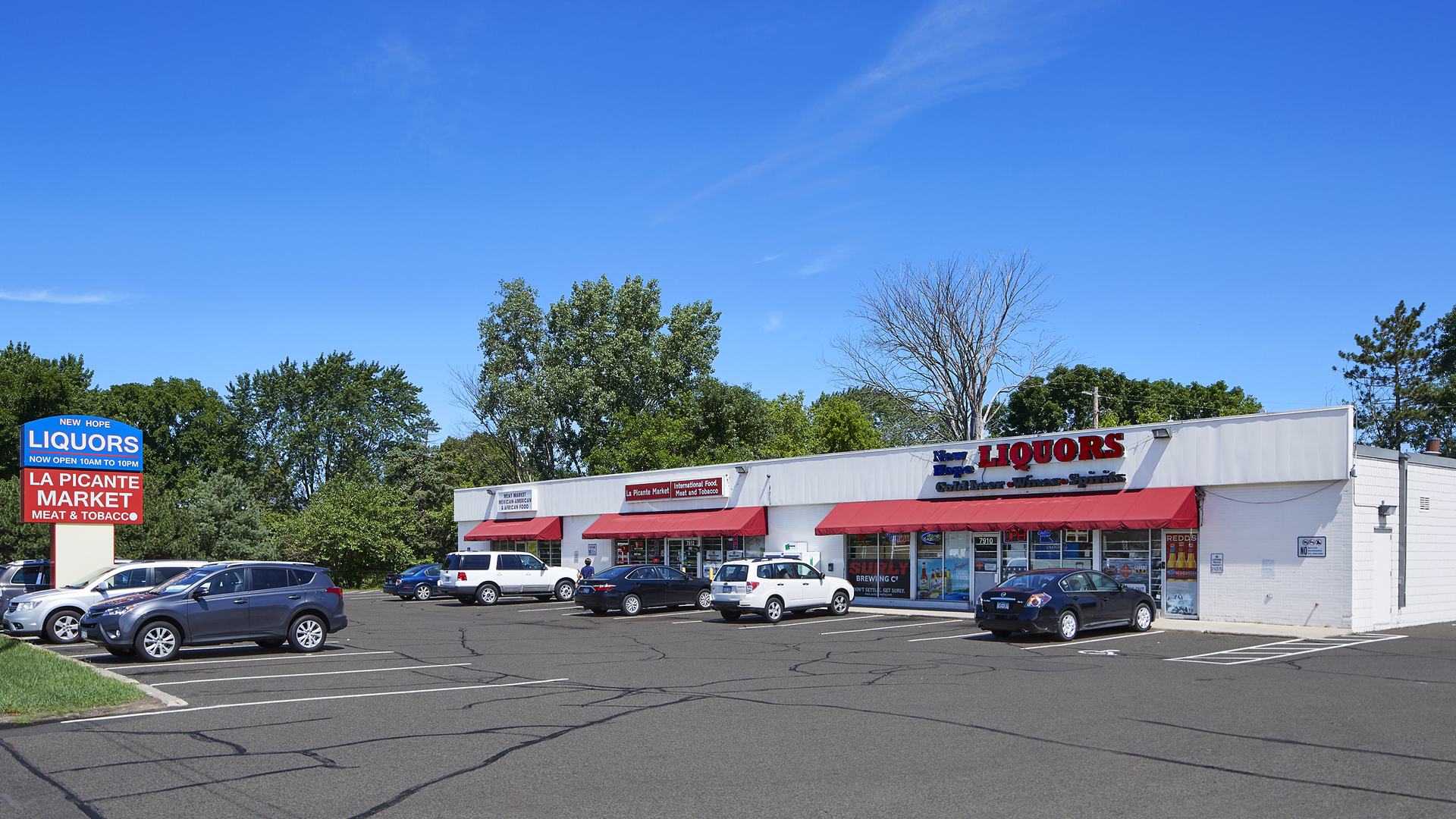 Bass Lake Road Retail Space New Hope MN exterior front view and marquee sign