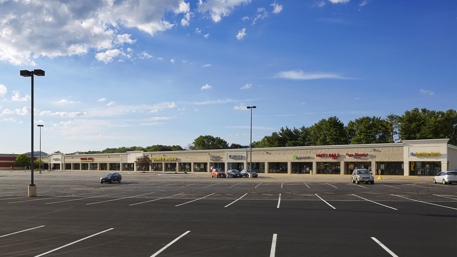 Crossing Meadows Retail Shopping Center Onalaska WI exterior wide angle view strip connected to Festival Foods