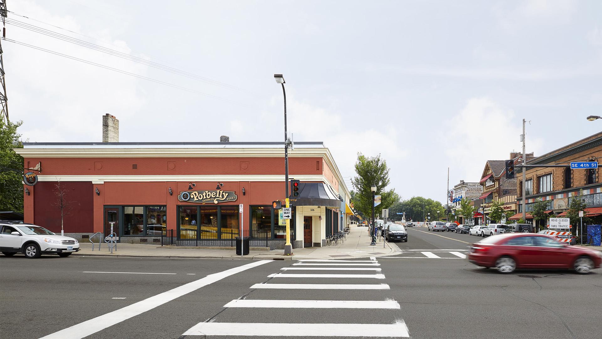Dinkytown Retail Shopping Center Minneapolis exterior featuring Potbelly