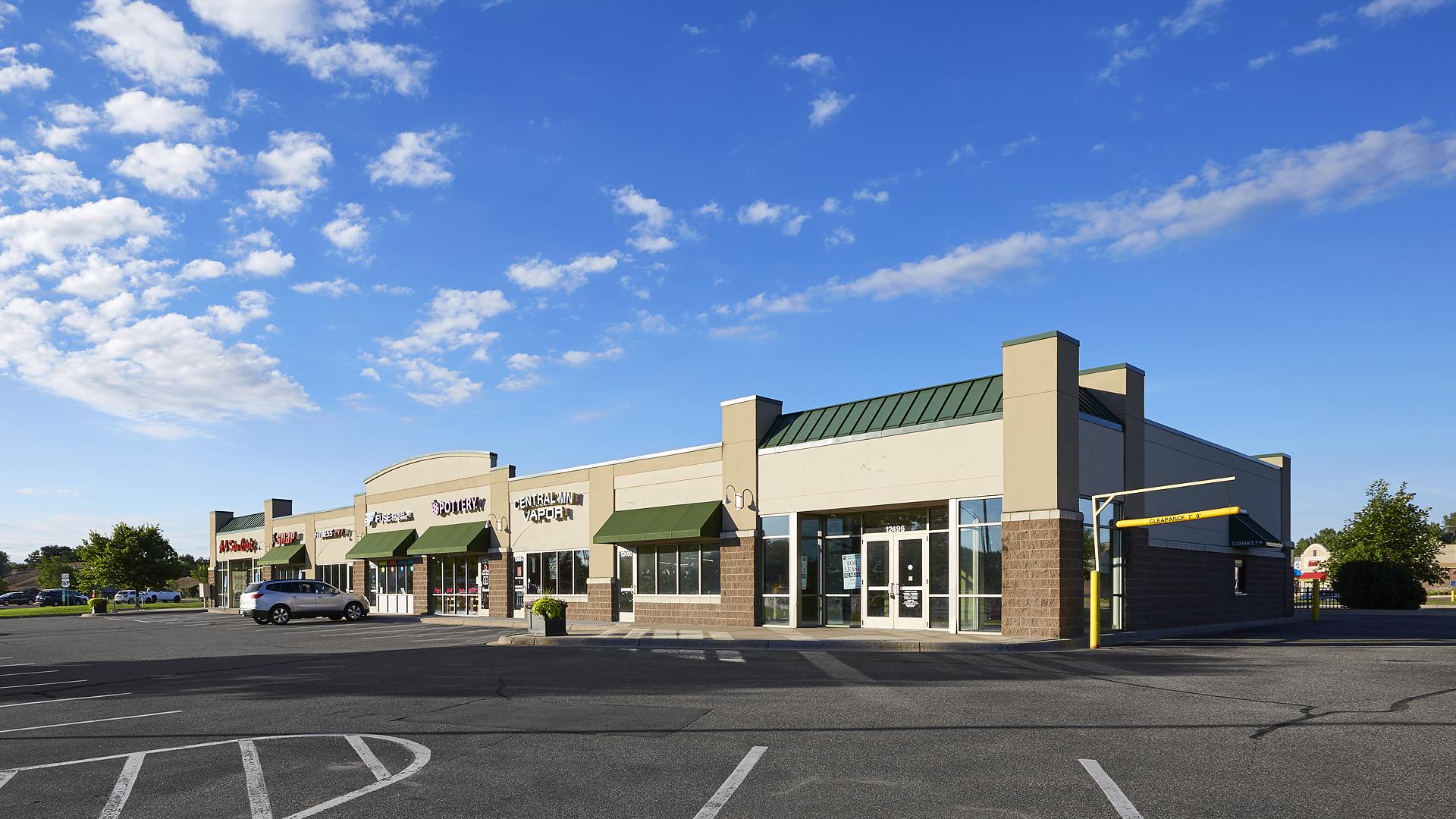 Hayden Lake Square Champlin MN retail shopping center exterior west end cap
