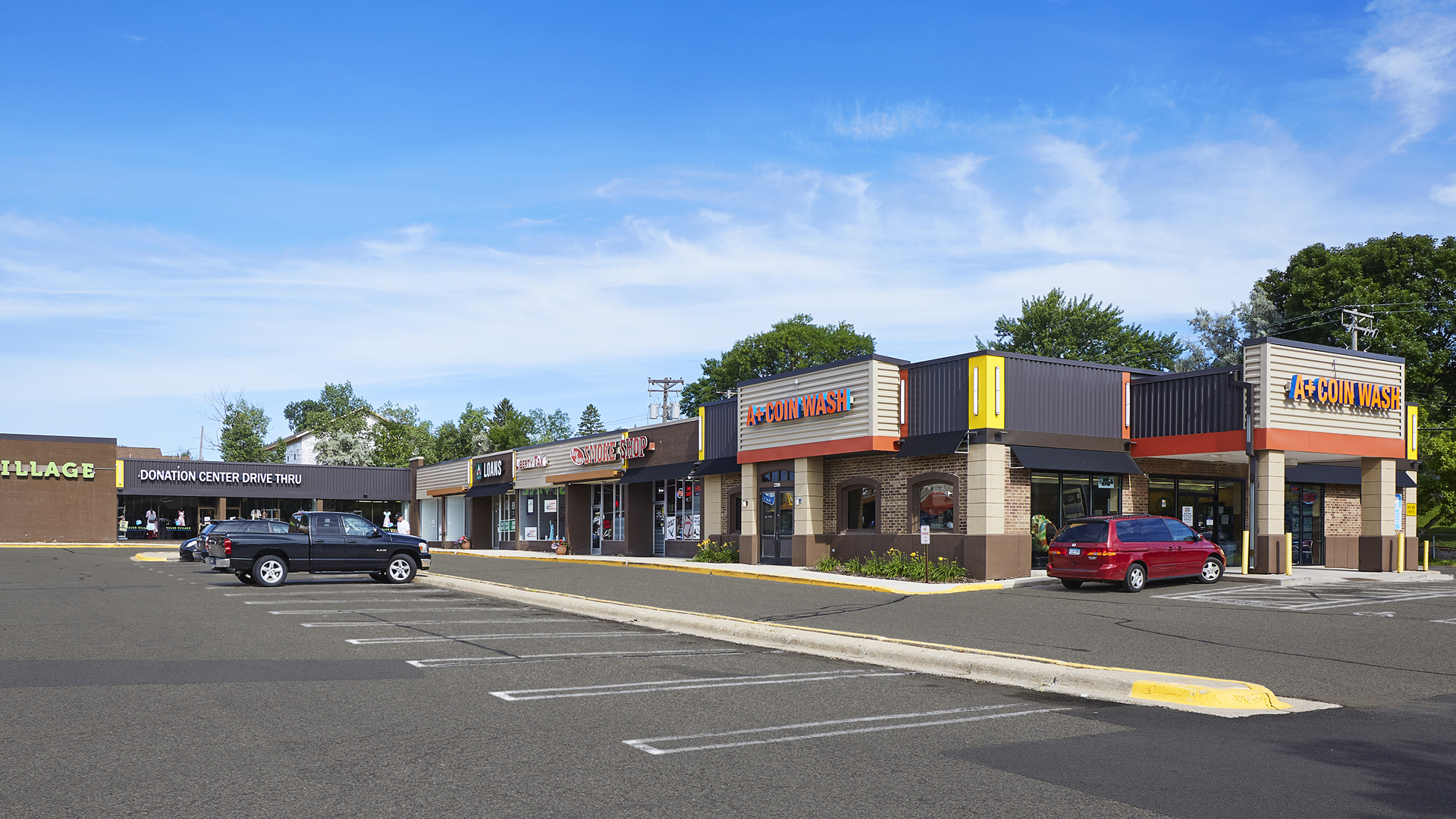 Midland Retail Shopping Center New Hope MN north strip exterior featuring Coin Wash