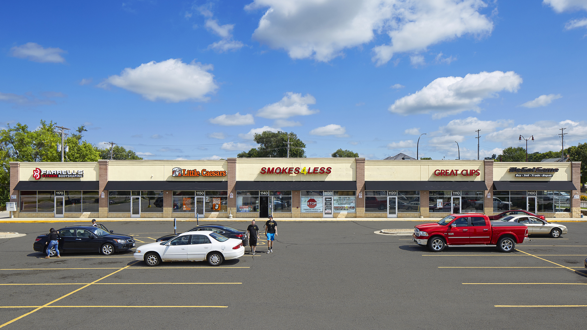 Riverfront Retail Shopping Center Mankato MN strip front elevation