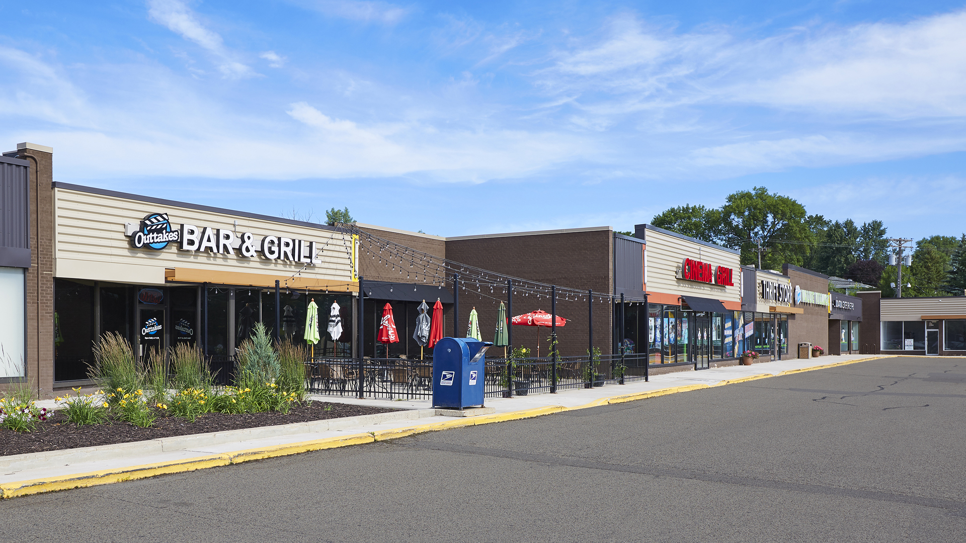 Midland Retail Shopping Center New Hope MN exterior featuring Outtakes Bar and Grill