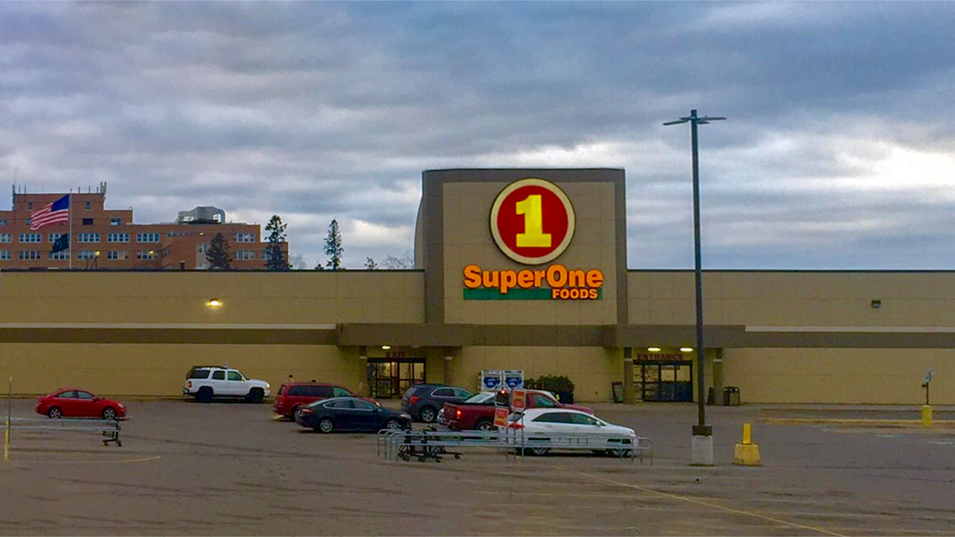 Midtown Retail Shoppng Mall Iron Mountain MI exterior Super One Foods front elevation