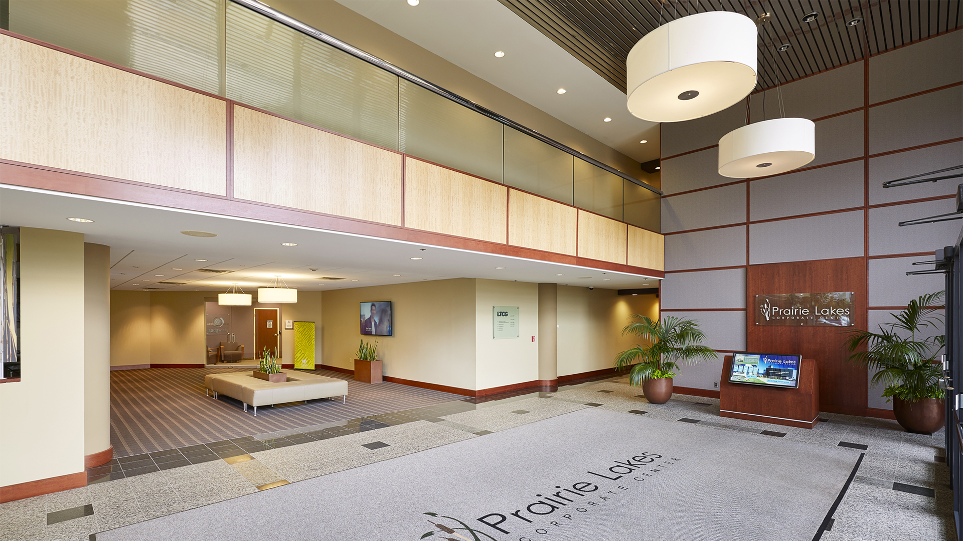 Prairie Lakes Corporate Center I and II office building interior entrance lobby