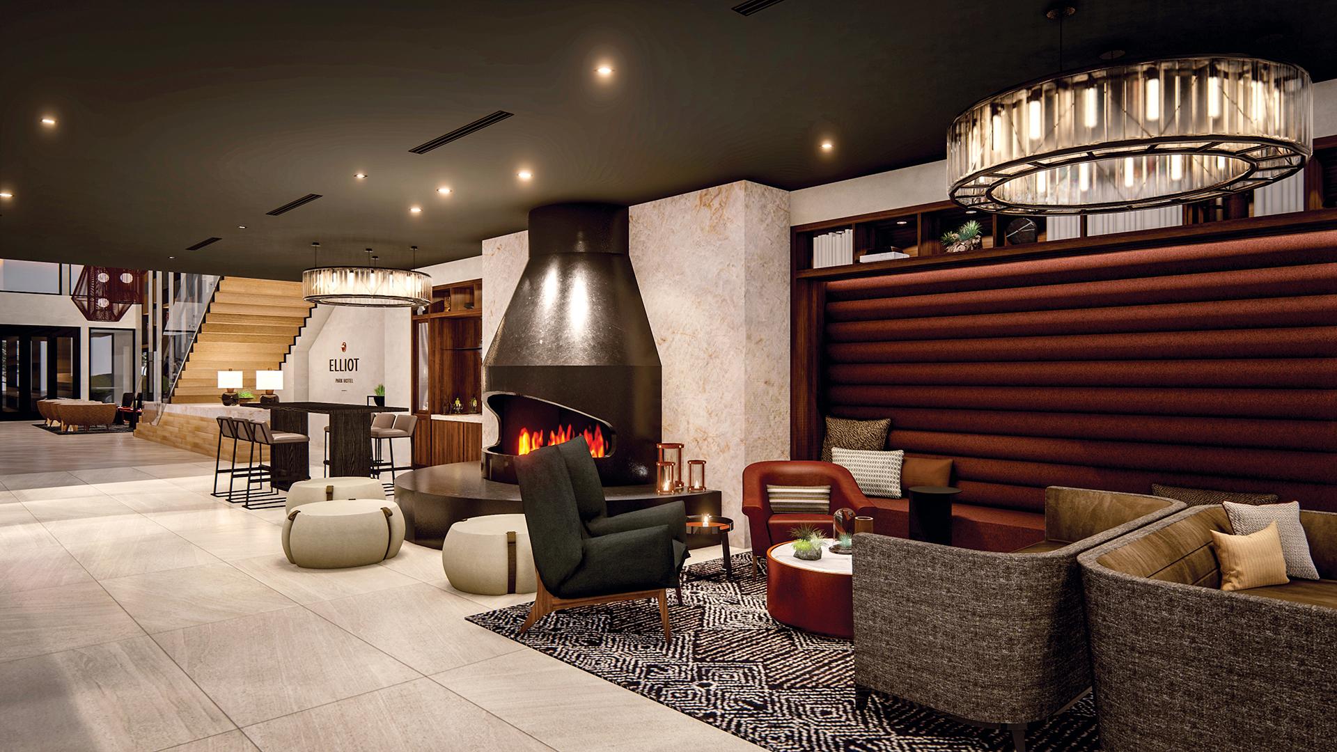 Elliot Park Hotel lobby fireplace