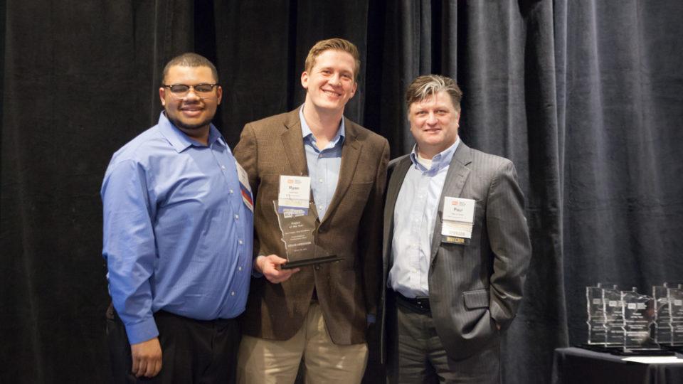 KA's Josh Carr and Ryan Klick with the MCA Award fof Excellence for KA Headquarters