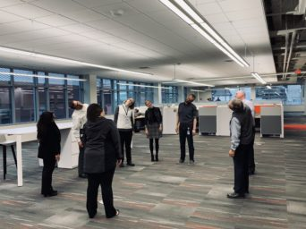Employees have a daily stretch and flex at the KA offices Wellness by Design Award
