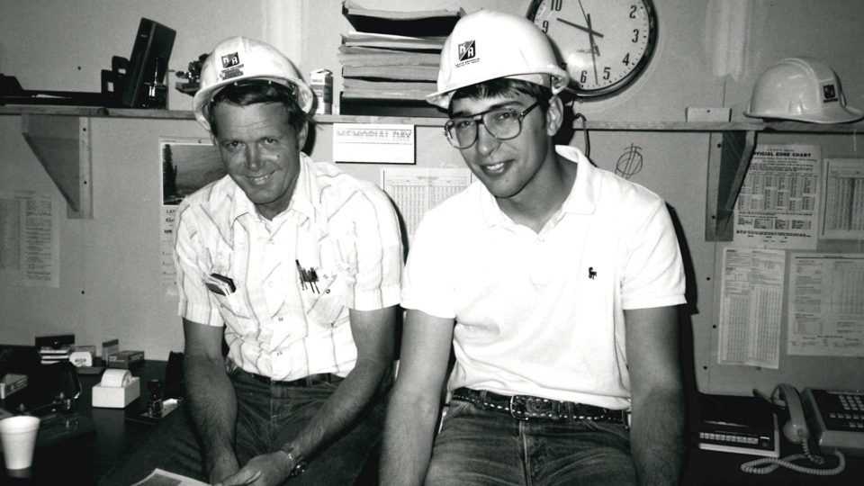 Larry Peters and Craig Francois at the Canterbury Downs project, 1985