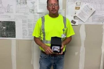 Carpenter foreman Tim Muske with the Core Values Award