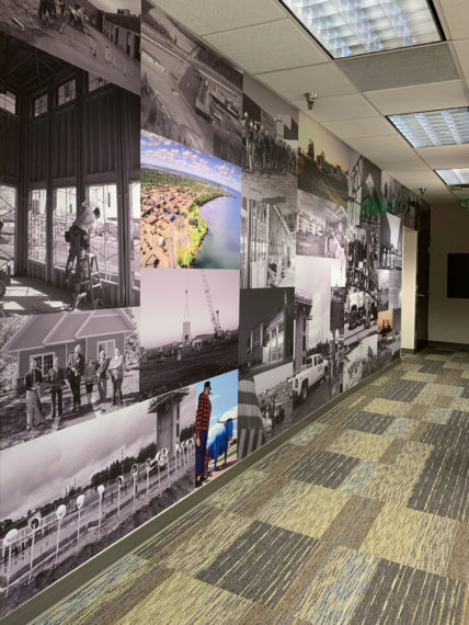 vinyl wall mural celebrates our work and our community. KA Bemidji office remodel