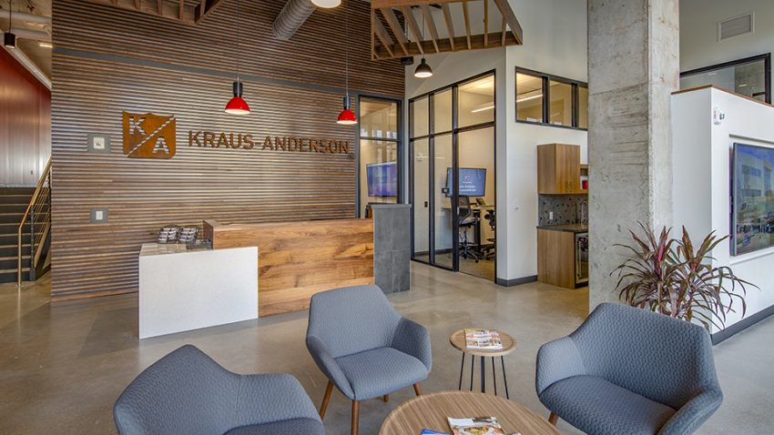 lobby, Kraus-Anderson Construction Madison office