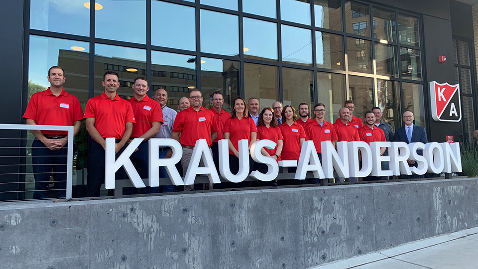 Employees of the KA Madison team outside their new offices