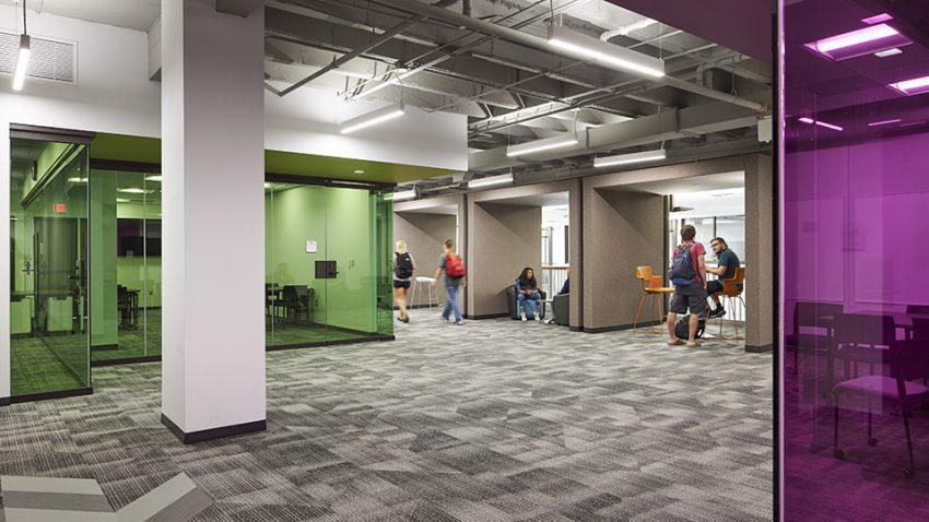 Winona State University Education Village interior open collaborative space