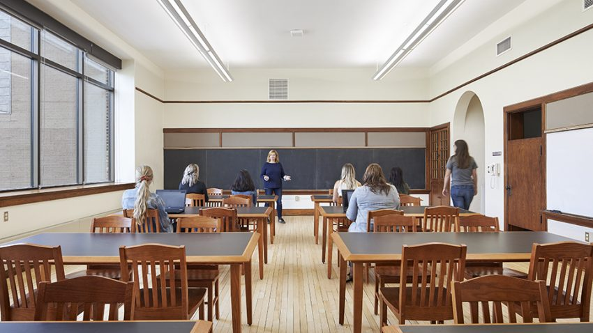 Winona State University Education Center's Cathedral School classroom