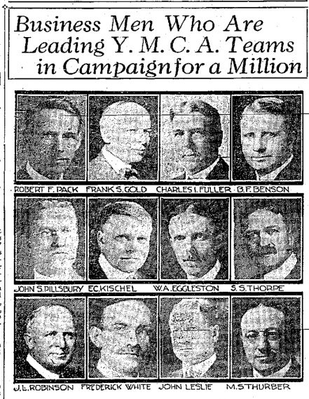 a news clipping of 12 business man leading the YMCA campaign for a Million to build Minneapolis Central YMCA history