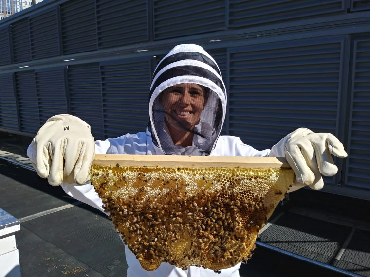 Employee holding Honey comb