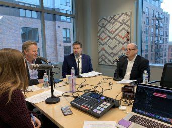 Mary Brickner with Matt Alexander, Peter Diessner and Jeff Hildahl of Kraus-Anderson Realty and Development
