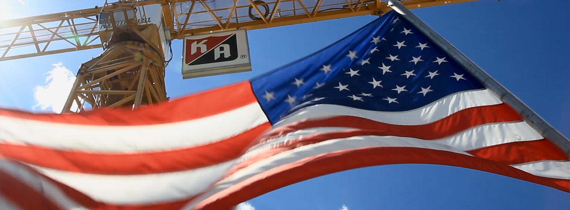 KA crane and American flag