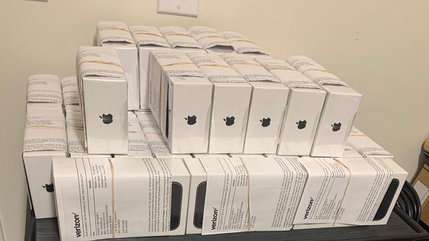 stack of iphones