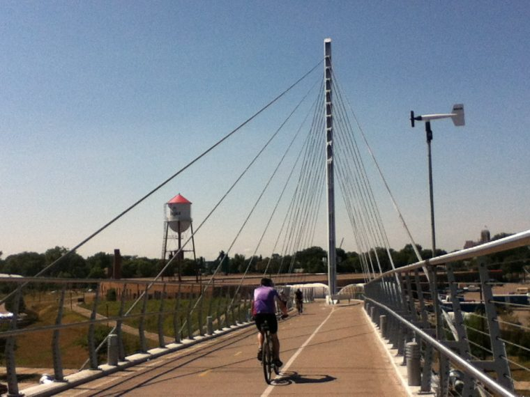 Biking over bridge