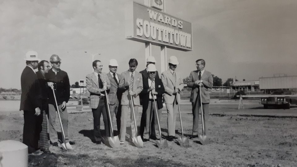 Breaking ground for expansion under the Wards Southtown sign in 1970. Southtown 60 years