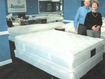 Southtown Shopping Center tenants Chuck and Cathy Carlson of Restwell Mattress